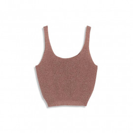 image of 粗針織短版背心 兩色售 Coarse Knit Short Vest Sold In Two Colors