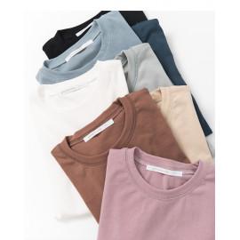 image of 圓領車線設計素面短T 八色售 Round Neckline Design Short Sleeve T Eight Colors