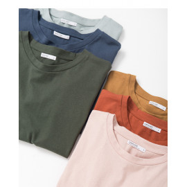 image of 基本百搭多色素面袖反摺棉T 六色售 Basic Wild Multi-Color Face Sleeves Reflex Cotton T Six Colors