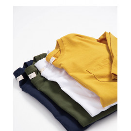 image of 單口袋素面多色圓領棉T 三色售 Single Pocket Plain Multi-Color Round Neck Cotton T Three Colors