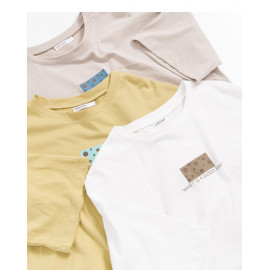 image of 起司英文圓領棉T 三色售 Cheese English Round Neck Cotton T Three-Colors