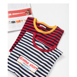 image of 撞色領條紋趣味遊戲印花短T 兩色售 Contrast Collar Striped Fun Game Print Short T Two Colors
