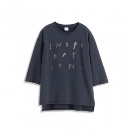 image of 造型刷破仿舊英文印花棉T Styling Brush Broken Distressed English Printed Cotton T