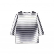 image of 配色細條紋圓領棉T Color Matching Pinstriped Round Neck Cotton T