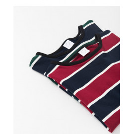 image of 配色條紋圓領棉T 兩色售 Color Stripe Round Neck Cotton T Two Colors