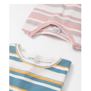image of 撞色條紋短袖圓領棉T 兩色售 Contrast Stripes Short Sleeve Round Neck Cotton T Two Colors