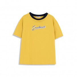 image of 英文草寫撞色圓領棉T  English Cursive Contrast Color Round Neck Cotton T