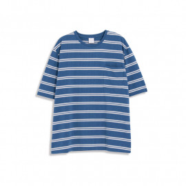 image of 配色條紋單口袋短袖棉T 三色售 Color Stripe Single Pocket Short Sleeve Cotton T Three Colors