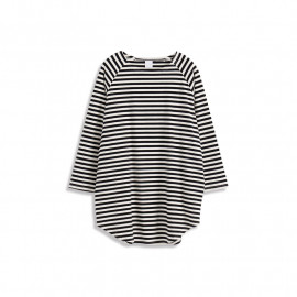 image of 配色條紋長版棉T 两色售 Color Stripe Long Sleeve Cotton T Two-Colors