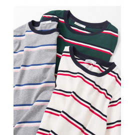 image of 羅紋領配色橫條短T 三色售 Ribbed Collar Color Matching Strip Short T Three Colors