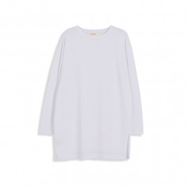 image of 素面側開衩圓領長棉T 两色售 Plain Side Open Round Neck Long Cotton T Two-Colors