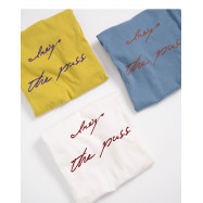 image of 配色草寫字母短袖棉T 三色售 Color Matching Letter Short Sleeve Cotton T Three Colors