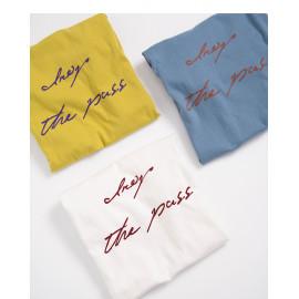 image of 配色草寫字母短袖棉T 三色售 Color Matching Letter Short Sleeve Cotton T Three Colors
