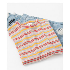image of 小高領細彩條短T Small High Collar Thin Color Strip Short T