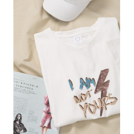 image of 斑剝字母印花短袖棉T Stripped Letter Print Short Sleeve Cotton T