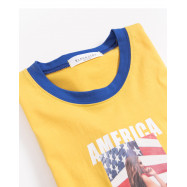 image of 亮眼配色AMERICA字母照片短T Bright Eye Color Matching AMERICA Letter Photo Short T