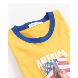 image of 亮眼配色AMERICA字母照片短T Bright Eye Color Matching AMERICA Letter Photo Short T