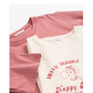 image of 吹著泡泡的女孩印花短袖棉T 兩色售 Girl With A Bubble Print Short-Sleeved Cotton T Two-Colors