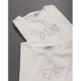 image of 男裝 親子系列雲朵日文印花短T Men's Clothing Parent-Child Series Cloud Japanese Printing Short T