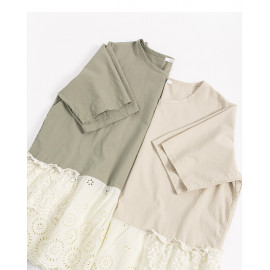 image of 下擺剪接蕾絲花邊棉麻上衣 兩色售 Bottom Cut Lace Lace Cotton Shirt Two Colors