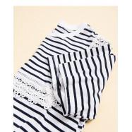 image of 條紋拼接蕾絲上衣 Striped Stitching Lace Top