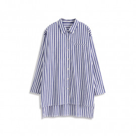 image of 前短後長條紋造型口袋襯衫 Front Short And Long Stripe Styling Pocket Shirt