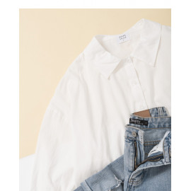 image of 基本百搭素色長版襯衫 Basic Wild Plain Long Shirt