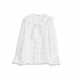 image of 荷葉邊領造型格紋上衣 Ruffled Collar Plaid Top