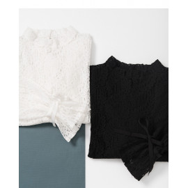 image of 甜美蕾絲造型上衣 兩色售 Sweet Lace Blouse Two-Colors