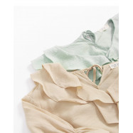 image of 荷葉邊棉麻上衣 兩色售 Ruffled Cotton And Linen Top Two-Colors
