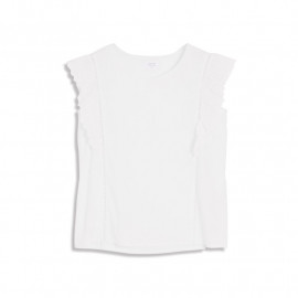 image of 好感白系荷葉蕾絲無袖上衣 Good-Looking White Lotus Leaf Lace Sleeveless Top