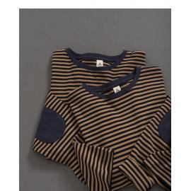 image of 大地配色條紋補丁拼接長袖棉T Earth Color Matching Stripe Patch Stitching Long Sleeve Cotton T