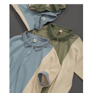 image of 撞色拼接羅紋翻領polo衫 兩色售 Contrast Stitching Ribbed Lapels Polo Shirt Two Colors