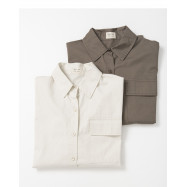 image of 基本百搭色系單口袋寬版長袖襯衫 兩色售 Basic Versatile Color Single-Pocket Wide-Length Long-Sleeved Shirt Two-Colors