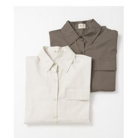 image of 基本百搭色系單口袋寬版長袖襯衫 兩色售 Basic Versatile Color Single-Pocket Wide-Length Long-Sleeved Shirt Two-Colors