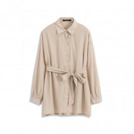 image of 光澤感綁帶造型襯衫 Glossy Bandage Style Shirt