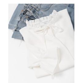 image of 好感素白荷葉領綁帶造型長袖上衣 Good Feeling White Lotus Leaf Collar Strap Style Long-Sleeved Shirt