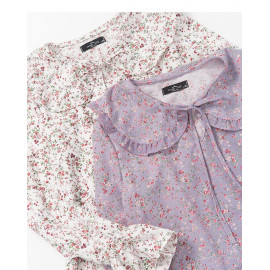 image of 小碎花荷葉上衣 兩色售 Small Floral Lotus Leaf Top Two-Colors