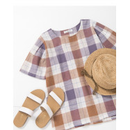 image of 配色格紋棉麻上衣 Matching Check Cotton and Linen top
