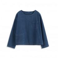 image of 造型口袋寬鬆長袖牛仔上衣 Modeled Pocket Loose Long-Sleeved Denim Top