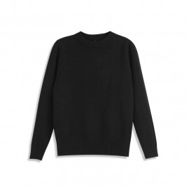image of 純色羅紋圓領針織上衣 三色售 Solid Color Ribbed Crew Neck Knit Top Three Colors