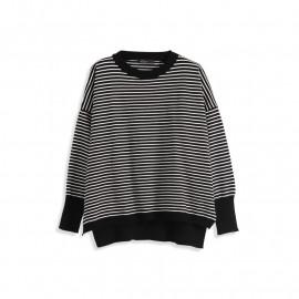 image of 羅紋圓領條紋針織衫 Ribbed Round Neck Striped Sweater