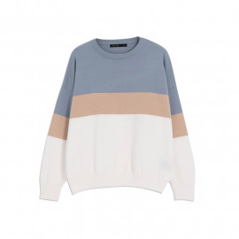 image of 圓領配色素面針織上衣 Round Neck With Pigmented Knit Top