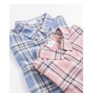 image of 翻領口袋造型格紋長版襯衫 兩色售 Lapel Pocket Plaid Long Shirt Two Colors