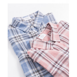 image of 翻領口袋造型格紋長版襯衫 兩色售 Lapel Pocket Plaid Long Shirt Two Colors