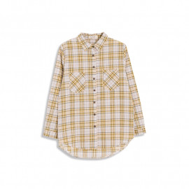 image of 配色格紋雙口袋長袖棉麻襯衫 四色售 Matching Plaid Double Pocket Long Sleeve Cotton And Linen Shirt