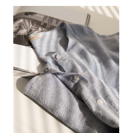 image of 配色條紋雙口袋長袖棉麻上衣 Color Stripe Double Pocket Long Sleeve Cotton Top