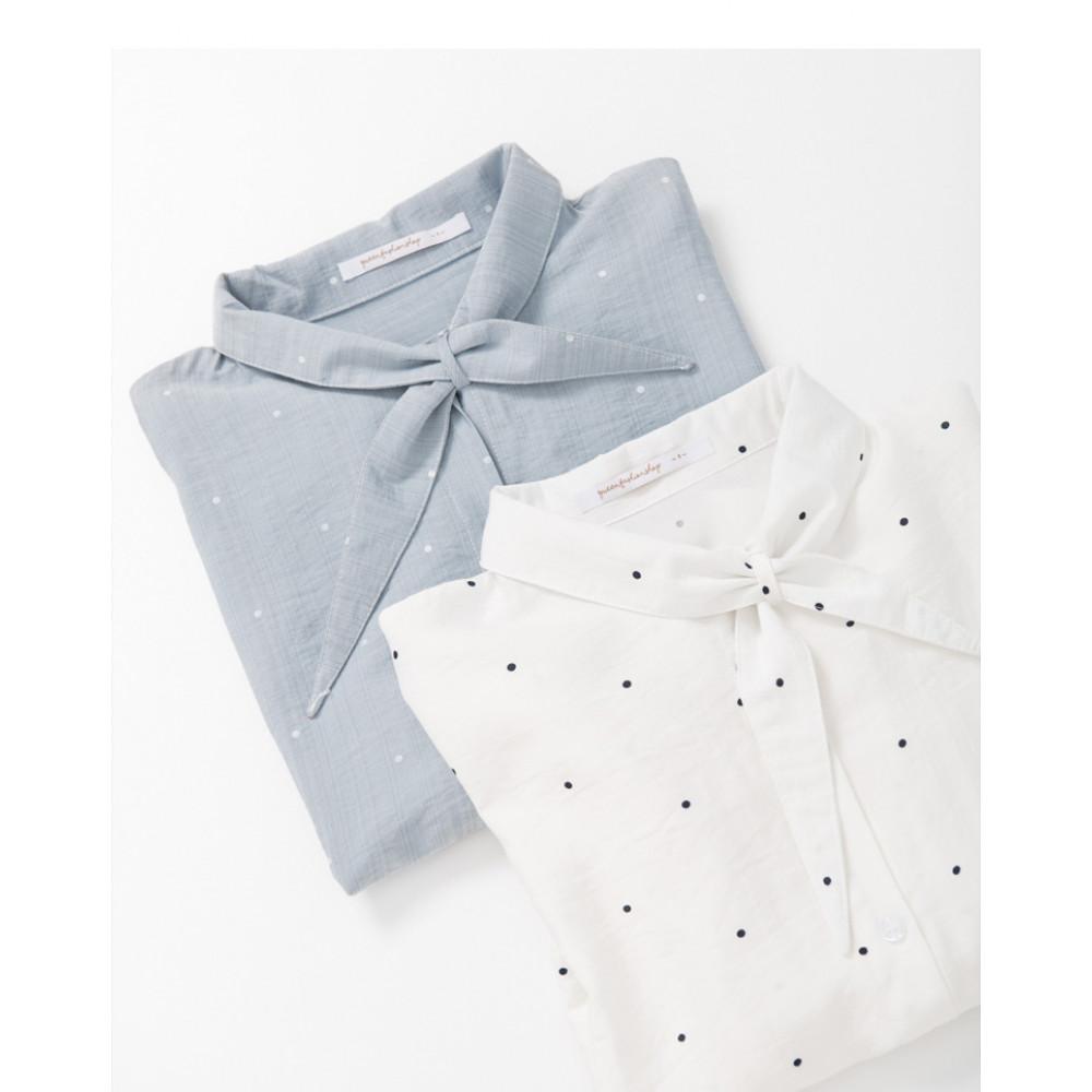 造型立領打結點點襯衫 兩色售 Styling Collar Collar Knotted Shirt Two-Colors