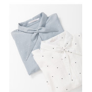 image of 造型立領打結點點襯衫 兩色售 Styling Collar Collar Knotted Shirt Two-Colors