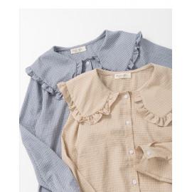 image of 甜美荷葉領格紋襯衫 兩色售 Sweet Lotus Leaf Collar Check shirt Two-Colors